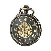 WENSHIDA Pocket Watch Open Face Skeleton Men Antique Bronze Mechanical/Hand-Wind Chain Box (4.Hand Wind, Bronze Black Open Face, HBH148)