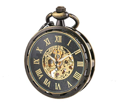 WENSHIDA Steampunk Transparent Open Face Pocket Watch for Men Women Bronze Skeleton with Chain + Box