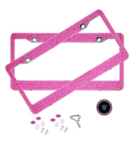 BLVD-LPF OBEY YOUR LUXURY  Hot Pink Crystal Rhinestone License Plate ABS Chrome Frame with Crystal Screw Caps - Set of 2 Frames (License Pink Plate Frame)