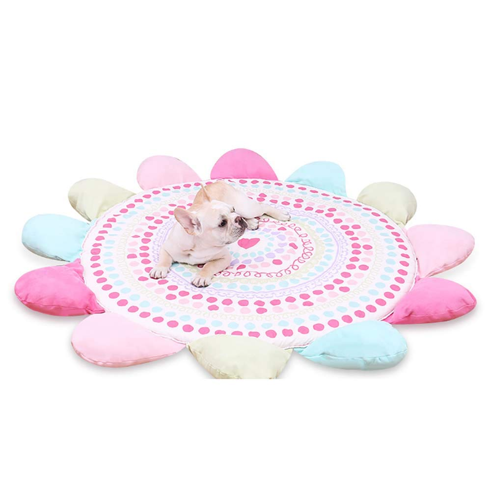 QNMM Warm Round Soft Mat Washable Pet Dog Sleeping Mat Sun Flower Round Cushion Suitable For Most Pets To Rest