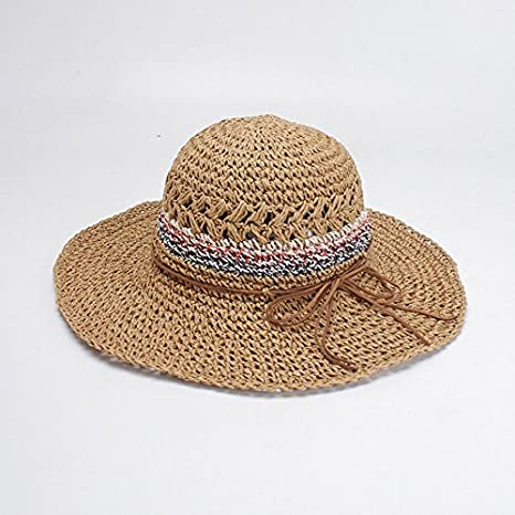 1395b5a28e8178 Amazon.com : ALWLj Summer Straw Hat Women Wide Brim Beach Sun Hats Foldable  Sun Block Uv Protection Panama Cap Fashion Design Floppy Caps : Sports & ...