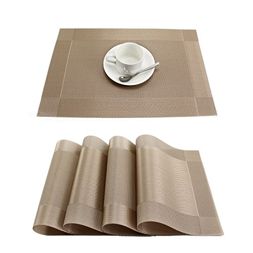 GEFEII Heat-Resistant Woven Vinyl Placemats Stain Resistant Non-Slip Washable PVC Table Mats Place mats for Kitchen Dining Table Wedding Party (Champagne, 6)