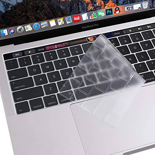 MOSISO Premium Ultra Thin TPU Keyboard Cover Compatible Newly MacBook Pro with Touch Bar 13 and 15 Inch 2019 2018 2017 2016 (Model: A2159, A1989, A1990, A1706, A1707) Transparent Skin, Clear