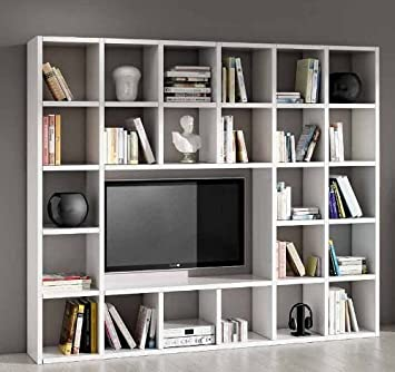 Libreria Porta Tv Bianca.Legno Design Parete Attrezzata Porta Tv Libreria Soggiorno