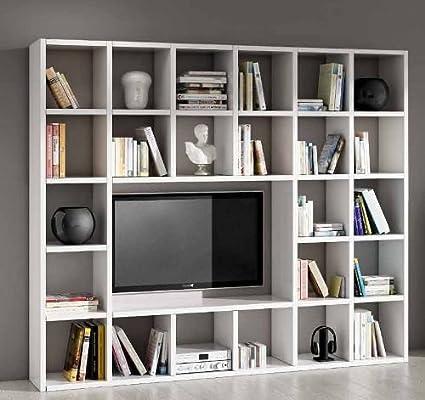 Parete attrezzata porta tv libreria soggiorno bianco frassinato 25 ...