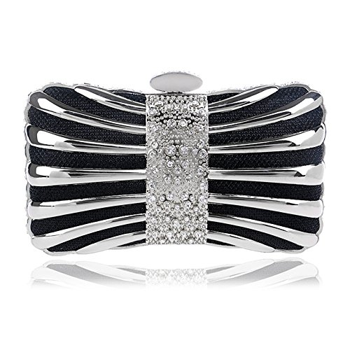 Clutch Handbag Shoulder Wedding Evening Party Women Dress Chain Orfila Black Metal Bags Tw5gZqT