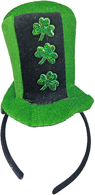 Patricks Day Irish Headband Green Gold Top Mini Hat Adult Children Shamrock St