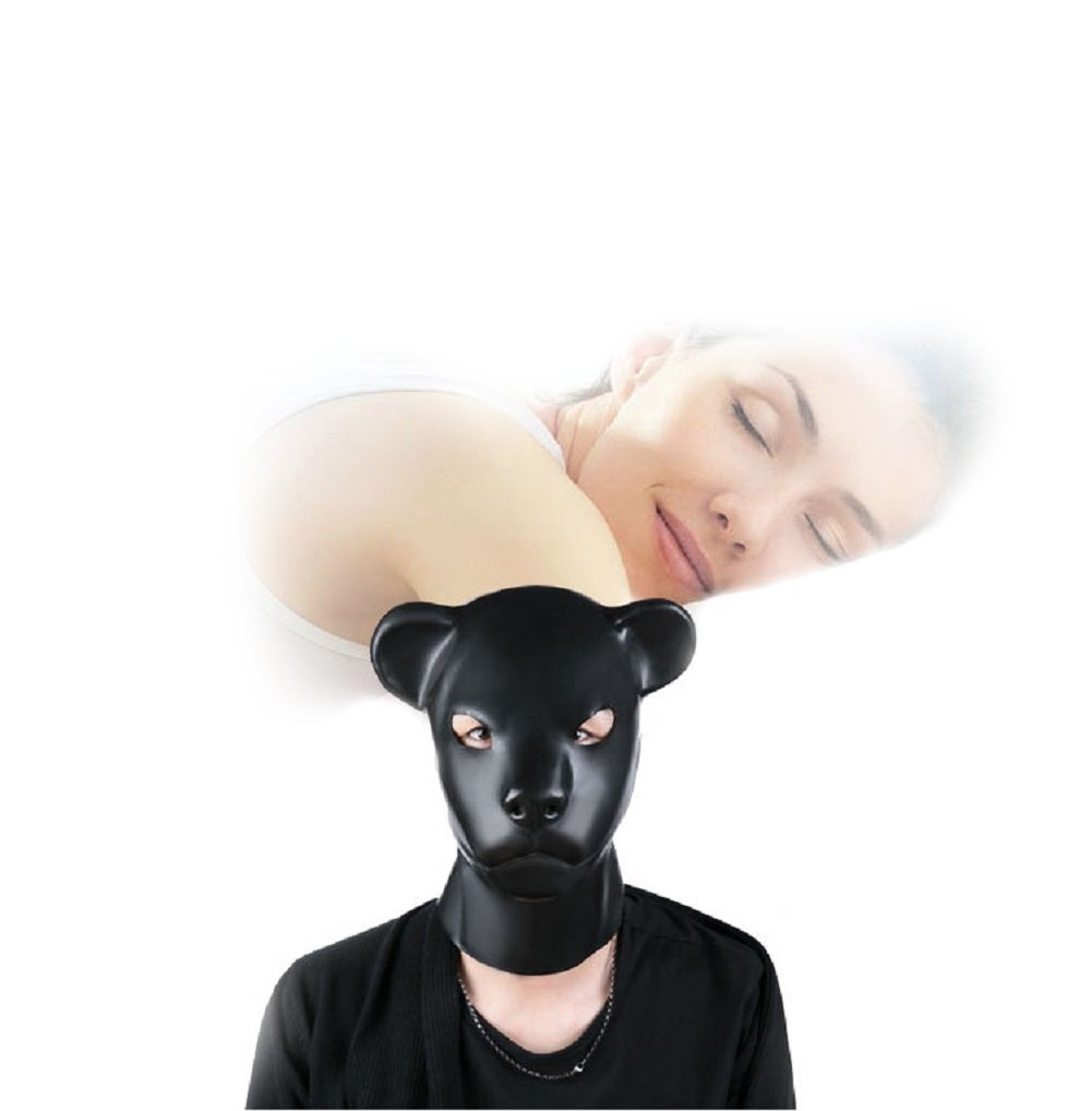 Duzzy Latex Rubber Fetish aninal mask with Back Zipper Dog Slave Hood Couple Flirting Toys 100% Natural Blind Version Halloween Costume Party with Back Zipper