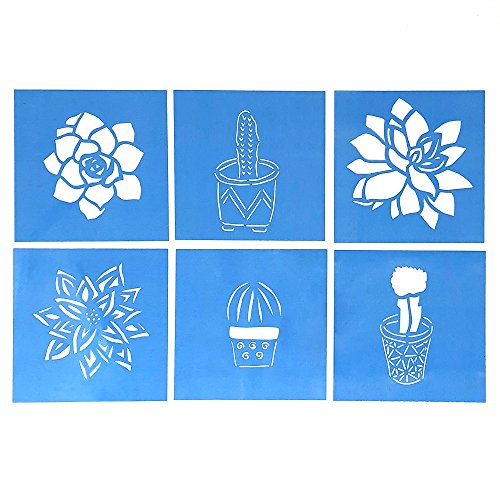 Cactus and Succulent Stencil Templates -- Set of Six 4-inch Desert Southwest Designs for Home Decor, Paper Crafting, Scrapbooking, Journaling, and Multimedia Art & Craft - Flash Templates Professional
