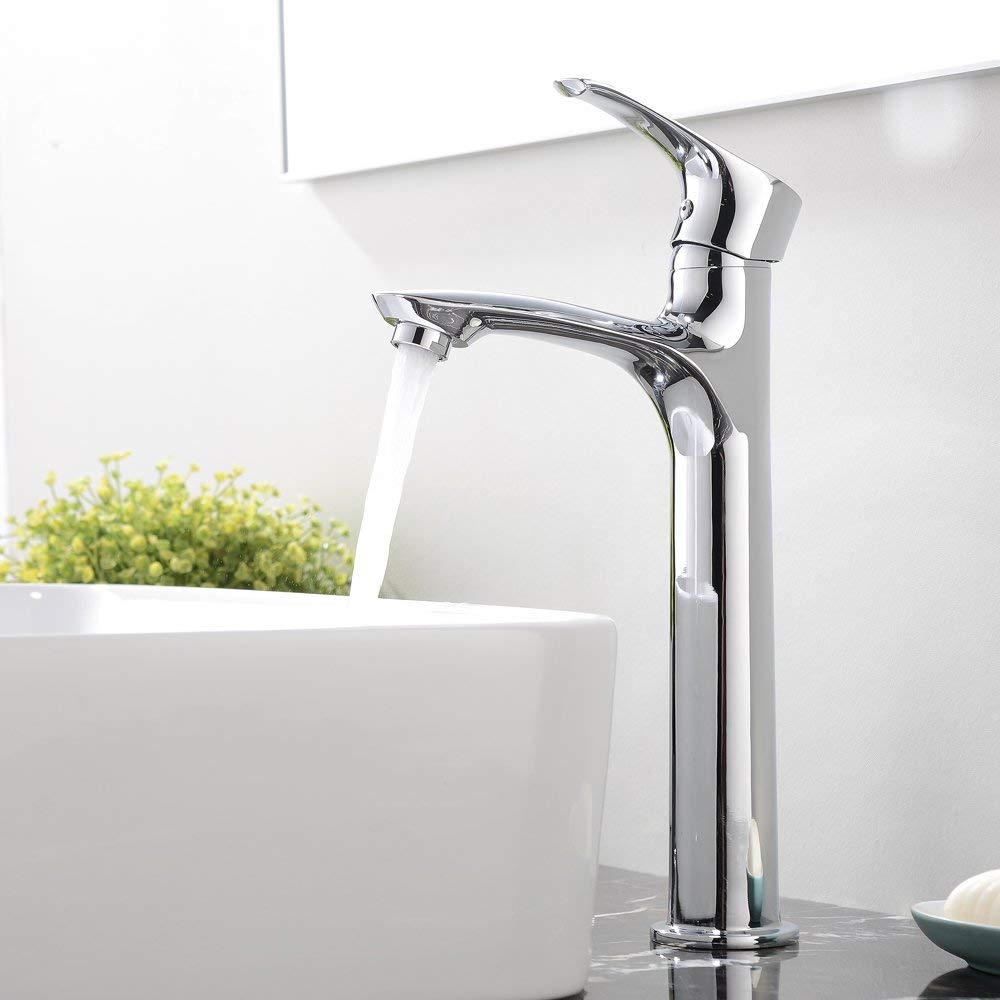 Ufaucet Contemporary Single Handle Tall Chrome Bathroom Vessel Sink Faucet Bathroom Faucet with Hoses