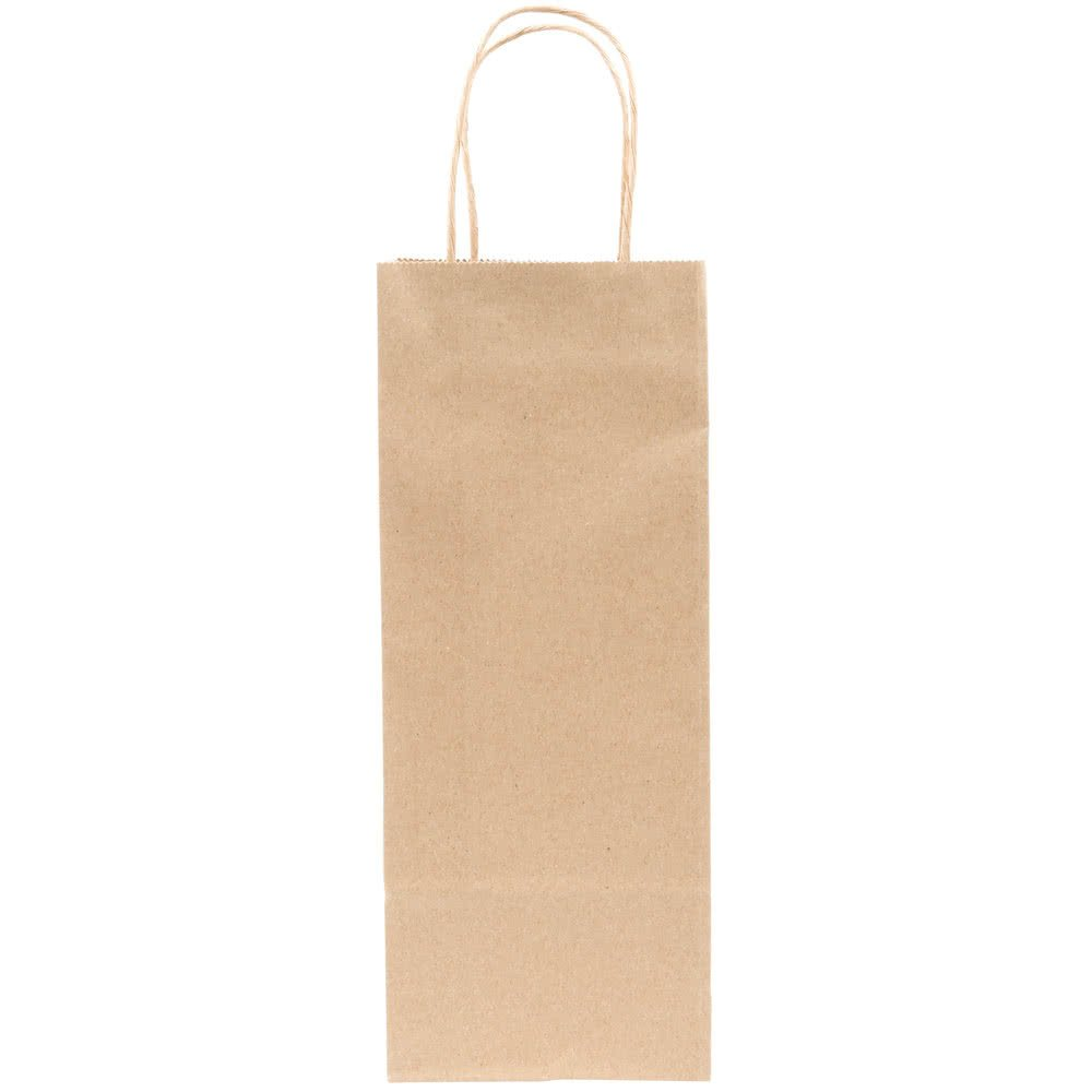 Tabletop king Vino Natural Kraft Paper Wine Shopping Bag with Handles 5'' x 3'' x 13'' - 250/Bundle