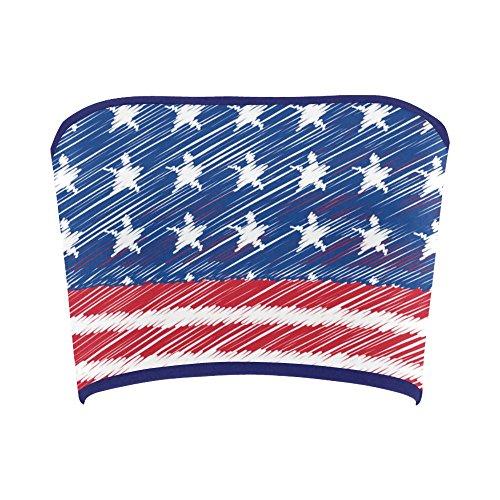 Women's Vintage Distressed American Flag Stars Stripes Tube Bra Bandeau Top - Tube Flag Top