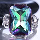 Women Men 925 Silver Cocktail Ring Huge 9.5Ct Mysterious Rainbow Topaz Size6-10 (8)