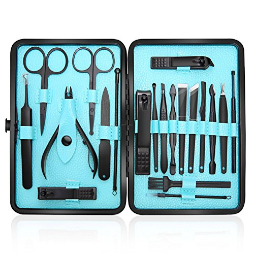 (Manicure Set Professional Nail Clippers Kit Pedicure Care Tools-Stainless Steel Men Grooming Kit 20Pcs With Black PU Leather Case for Travel or Home (Black/Blue))