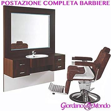 Puesto de barbero completa mueble con Espejo y Lavabo y ...