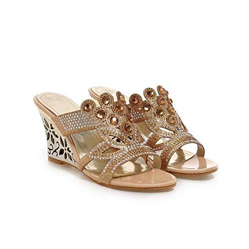 Balamasa Donna Fiore Scolpito Mary-jane Materiali Mescolati Pantofole Oro