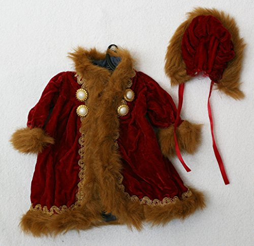 Porcelain Doll Coat ,Red with Fur, Shoulder W. 11 cm, Sleeve L. 15 cm, Cuffs W. 5 cm, Bust W. 16 cm, Overall L. 28 cm. May Fit 18-21