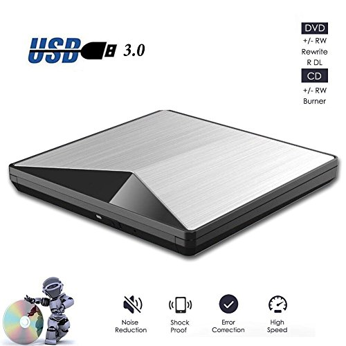 External CD DVD Drive, Sunreal USB 3.0 Portable Slim DVD Player Burner High Speed Data Transfer for Laptop Desktop by Sunreal