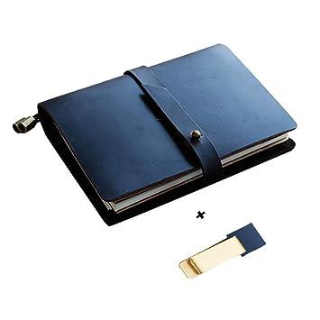 Daptsy - Agenda de viaje para negocios, piel negra, papel ...