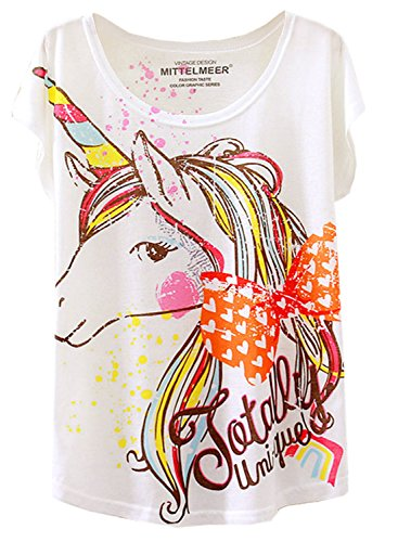 Futurino Womens Summer Colorful Bow Tie Unicorn Print Short Sleeve T-Shirt Tops