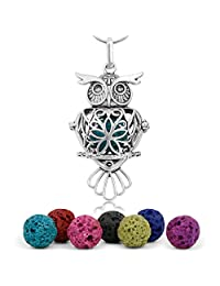 "Maromalife Premium Owl Lava Stone Aromatherapy Essential Oil Diffuser Necklace Locket Pendant Gift Set with 24"" Chain and Multi-Colored Beads [Classical]"
