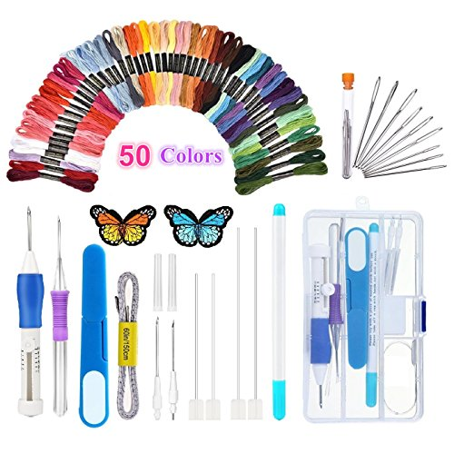 Magic Embroidery Pen Punch Needle,Embroidery Pen Set,Embroidery Patterns Punch Needle Kit Craft Tool,Including 50 Color Threads for DIY Threaders Sewing Knitting by Topus