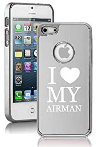 Apple iPhone 5 5S Silver 5E1544 Aluminum Plated Chrome Hard Back Case Cover Love My Airman Airforce