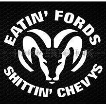Dodge Eatin' Fords Chevys Lrg Die Cut Vinyl Car Decal Wall Sticker