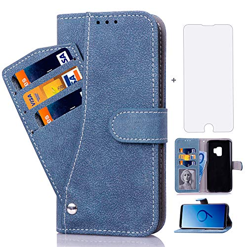 Asuwish Samsung Galaxy S9 Case Marble Phone Cases Wallet Leather with Credit Card Holder Slot Slim Kickstand Stand Feature Flip Folio Protective Cover for Samsung Galaxy 9 9S Women Girls Men Blue