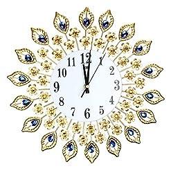 Wall Clocks - Luxury Artificial Crystal Diamond Large Wall Clock Metal Living Room Home Art Decoration 1 Gold - Extra Horse Parts Decorative Home Roman Theme Clocks Living Music Cherry Modern Gl