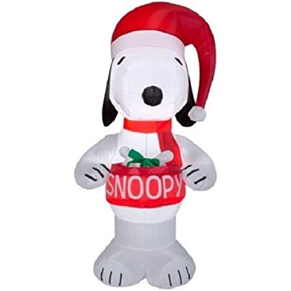 gemmy christmas peanuts snoopy holding dog bowl airblown inflatable 5ft