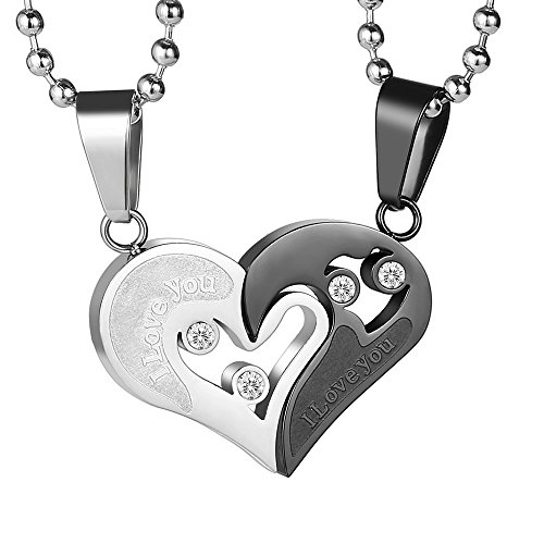 - GAGAFEEL His Hers Couple Necklace Stainless Steel Pendant Heart CZ Puzzle Matching Set I Love You in Gift Box (Black&Silver)