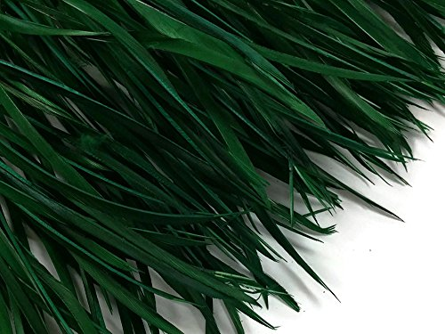 (1 Yard - Hunter Green Goose Biots Stripped Wing Wholesale Feather Trim Halloween Craft Supply | Moonlight Feather)