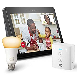 Echo Show (2nd Gen) Bundle with Echo Flex and Philips Hue Bulb - Alexa smart home starter kit - Charcoal