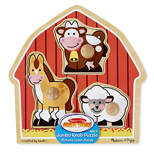 Melissa & Doug Barnyard Animals Jumbo Knob Wooden Puzzle - Horse, Cow, and Sheep