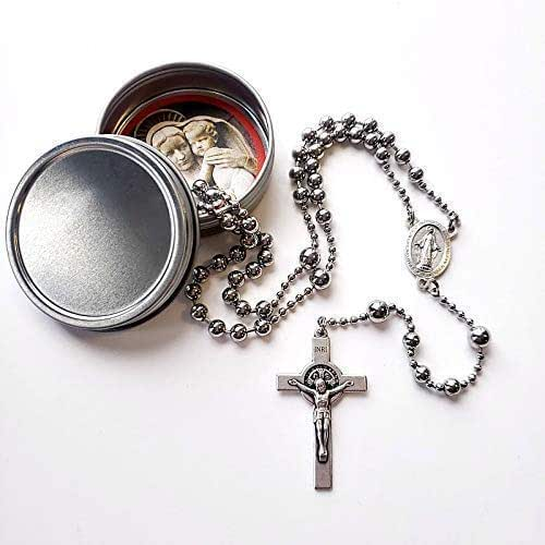Rugged Rosaries® Saint Benedict WWI Combat Rosary in Silver Finish - Handmade in the USA