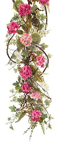 Melrose International Pink Geranium Berry Garland, 54-Inch