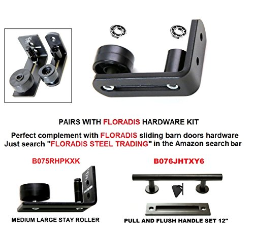 NEW * FLORADIS SMALL STAY ROLLER FLOOR GUIDE for BOTTOM of SLIDING BARN DOORS / SITS FLUSH to the FLOOR/ ULTRA SMOOTH FULLY ADJUSTABLE MULTIPLE SETUPS WALL MOUNT STOP GUIDES/ BALL BEARINGS WHEELS by Floradis Steel Trading (Image #5)