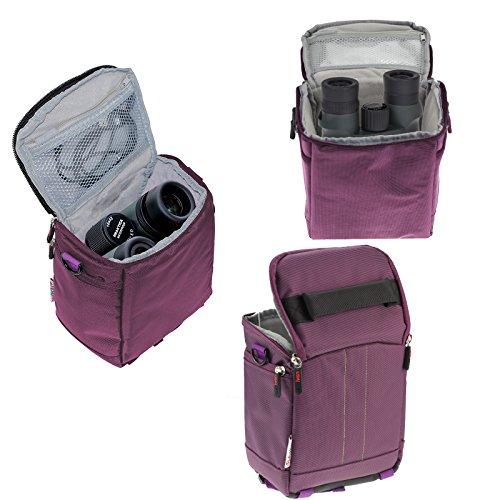 Navitech Purple Protective Portable Handheld Binocular Case and Travel Bag Compatible with The Vanguard 10x25 Orros Compact Waterproof Binoculars