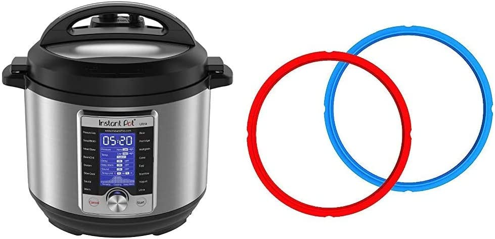 Instant Pot Ultra 10-in-1 Electric Pressure Cooker, Sterilizer, Slow Cooker, Rice Cooker, 6 Quart, 16 One-Touch Programs & Genuine Instant Pot Sealing Ring 2-Pack - 6 Quart Red/Blue