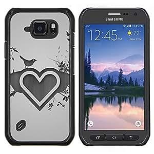 Caucho caso de Shell duro de la cubierta de accesorios de protección BY RAYDREAMMM - Samsung Galaxy S6Active Active G890A - Dibujo Corazón Amor del Corazón Naturaleza Pájaro Flores