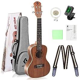 Ukulele Concert Size Starter Kit, 23 inch Professional Wooden Ukelele Instrument Kit Hawaiian Yukelele Pack with Gig Bag…
