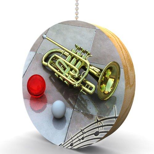 Trumpet and Music Notes Hardwood Oak Fan/Light Pull