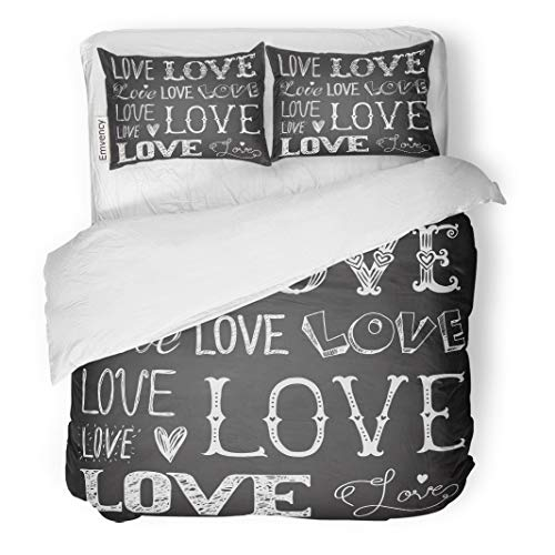 Semtomn Decor Duvet Cover Set King Size Chalk of Words Love Freehand Drawing Letter Wedding Romantic 3 Piece Brushed Microfiber Fabric Print Bedding Set Cover ()