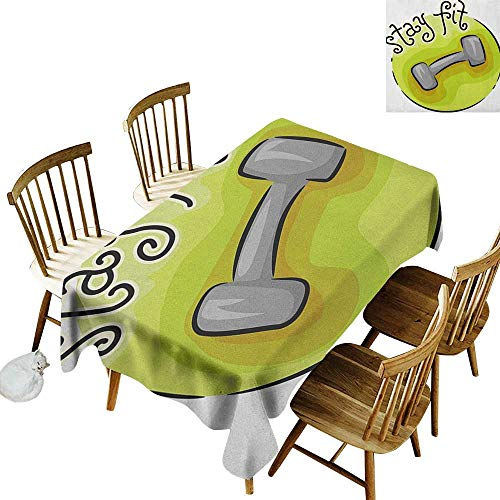 kangkaishi Elastic Edges fit The Rectangular Tablecloth Suitable for Most Home Decor Stay Fit Circular Icon with a Dumbbell Cartoon Style Fun Illustration W60 x L126 Inch Pale Green Grey Black