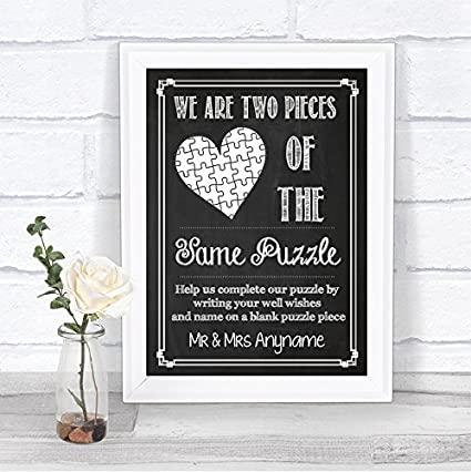 Jigsaw Guestbook Wedding Personalised Framed or Unframed Signature Style