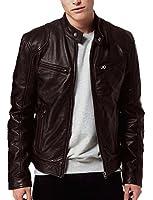 V4M Men's X Biker Black Lambskin Genuine Real Leather Jacket(Black)