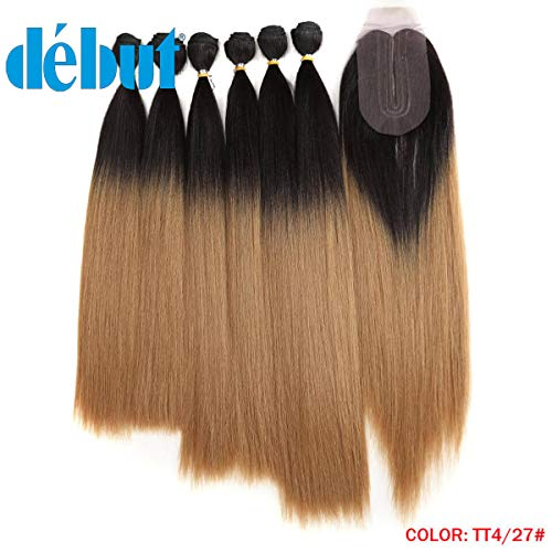 (DÉBUT synthetic hair bundles with simple closure weave bundles with frontal swiss lace 7pcs Yaki Straight 16 18 20 inch 250g high temperature fiber )