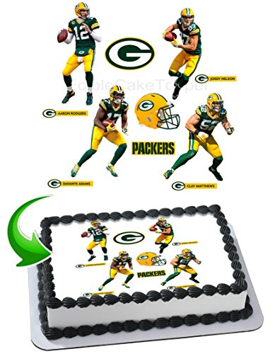 Aaron Rodgers, Davante Adams, Clay Matthews, Jordy Nelson, Packers Edible Image Cake Topper Icing Sugar Paper A4 Sheet Edible Frosting Photo Cake 1/4 ~ Best Edible Image for cake]()