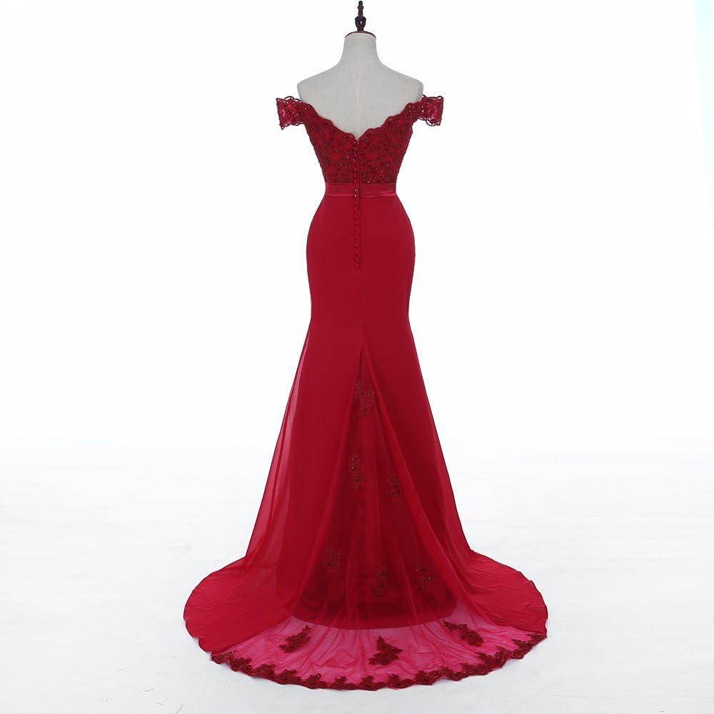 Meerjungfrau Aus Schulter Abendkleider Ballkleid Kleider Rot Lange